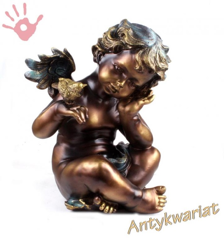Figura anioł z ptaszkiem 33cm